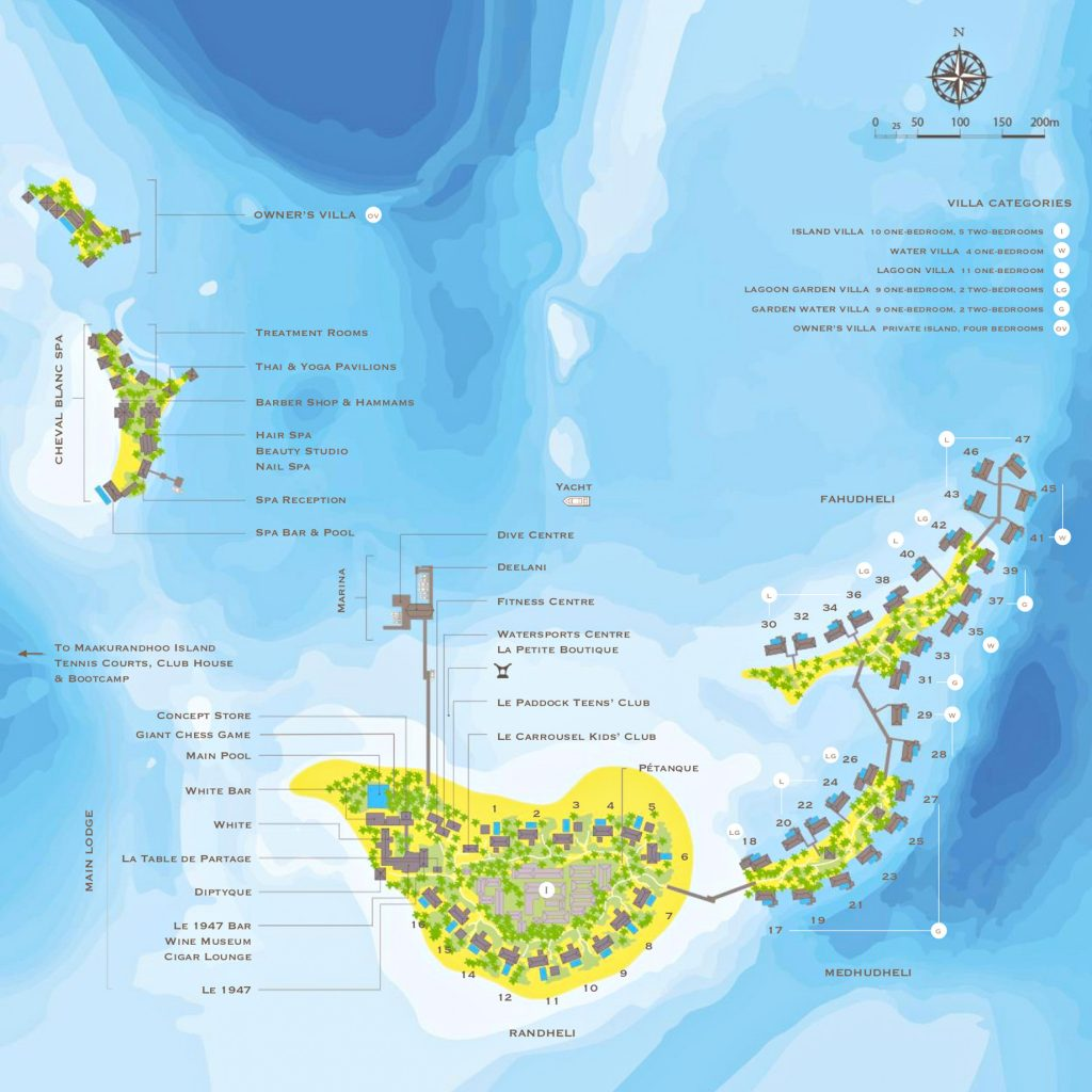 Cheval Blanc Randheli Luxury Resort - Noonu Atoll, Maldives - Map