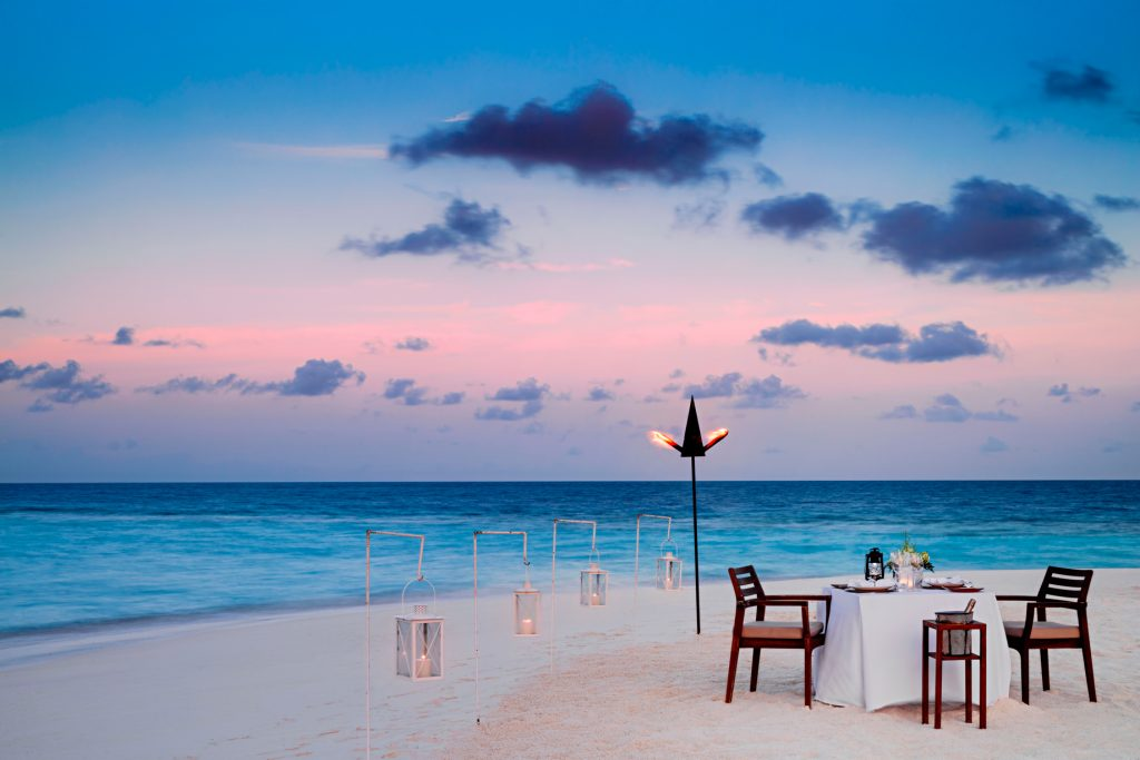 One&Only Reethi Rah Luxury Resort - North Male Atoll, Maldives - Private Beach Dinner Sunset