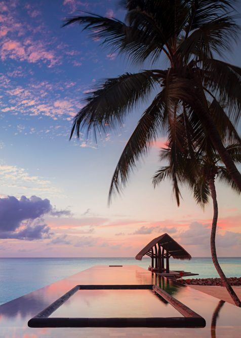 One&Only Reethi Rah Luxury Resort - North Male Atoll, Maldives - Overwater Infinity Edge Lap Pool Sunset