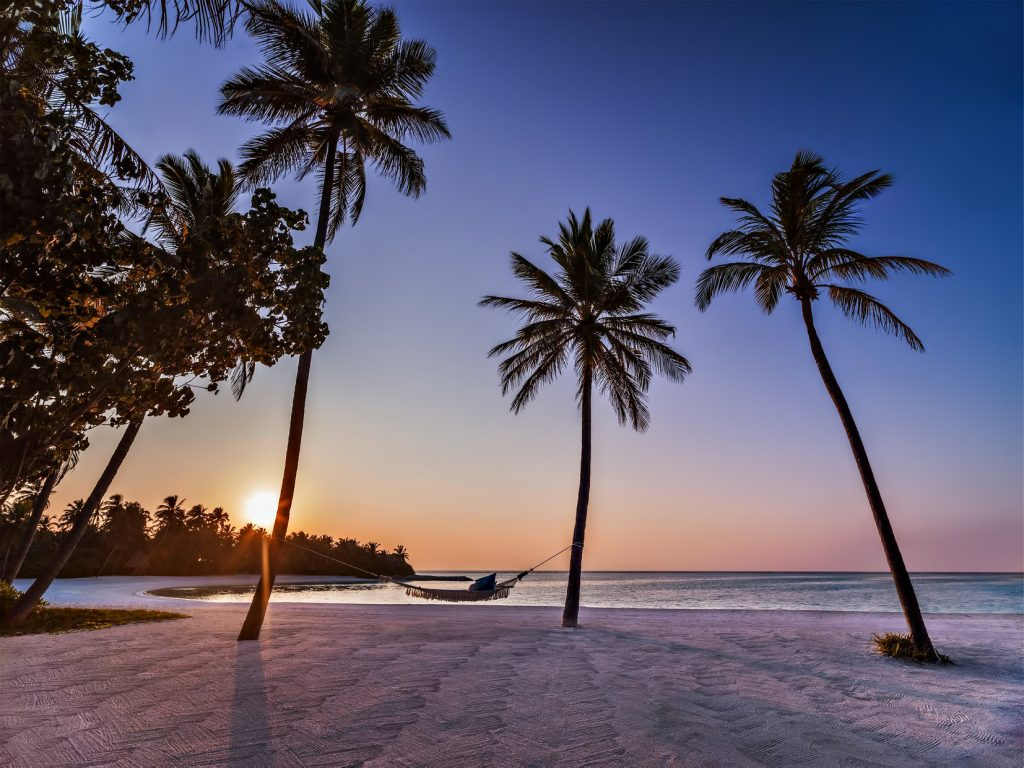 One&Only Reethi Rah Luxury Resort - North Male Atoll, Maldives - Palm Tree Hammock Oceanview Sunset