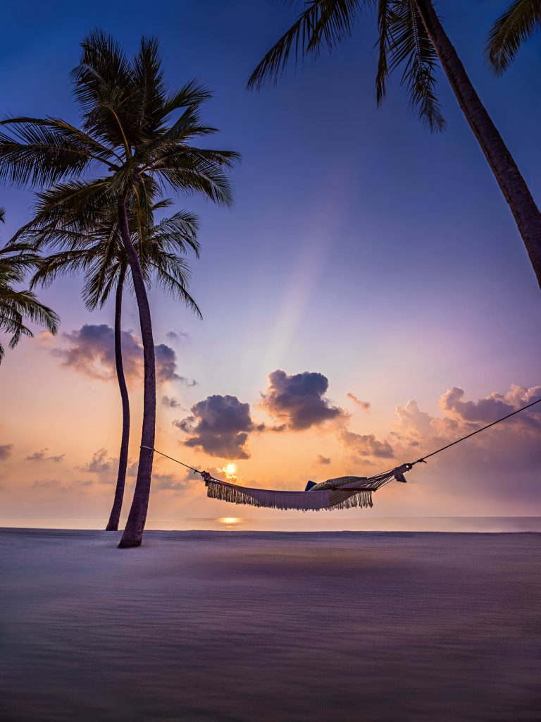 One&Only Reethi Rah Luxury Resort - North Male Atoll, Maldives - Palm Tree Hammock Beach Sunset