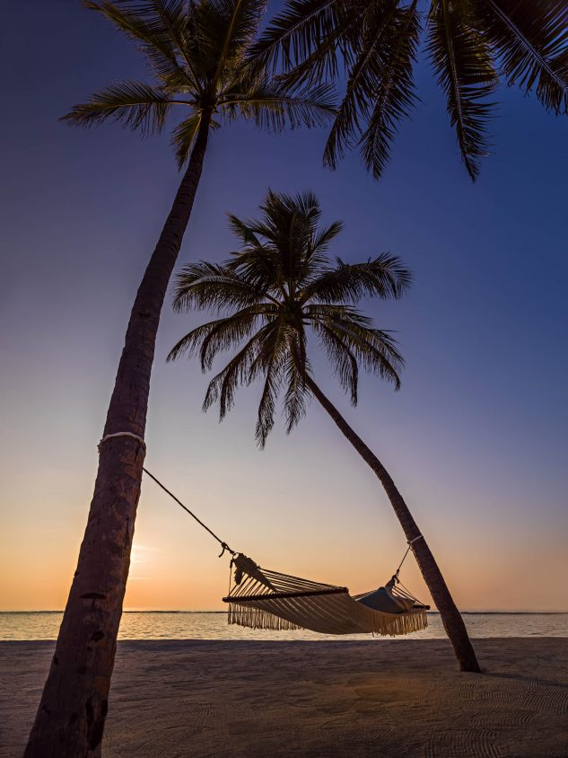 One&Only Reethi Rah Luxury Resort - North Male Atoll, Maldives - Palm Tree Hammock Beach Twilight