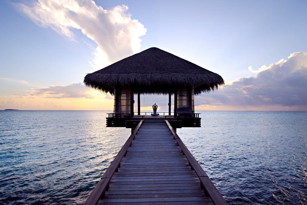 One&Only Reethi Rah Luxury Resort - North Male Atoll, Maldives - Overwater Yoga Deck Sunset