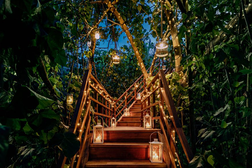 One&Only Reethi Rah Luxury Resort - North Male Atoll, Maldives - Tree House Restaurant Stairs Night