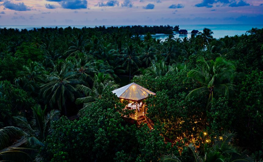 One&Only Reethi Rah Luxury Resort - North Male Atoll, Maldives - Tree House Restaurant Twilight