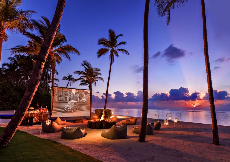 One&Only Reethi Rah Luxury Resort - North Male Atoll, Maldives - Beachfront Movie Night Screen Sunset
