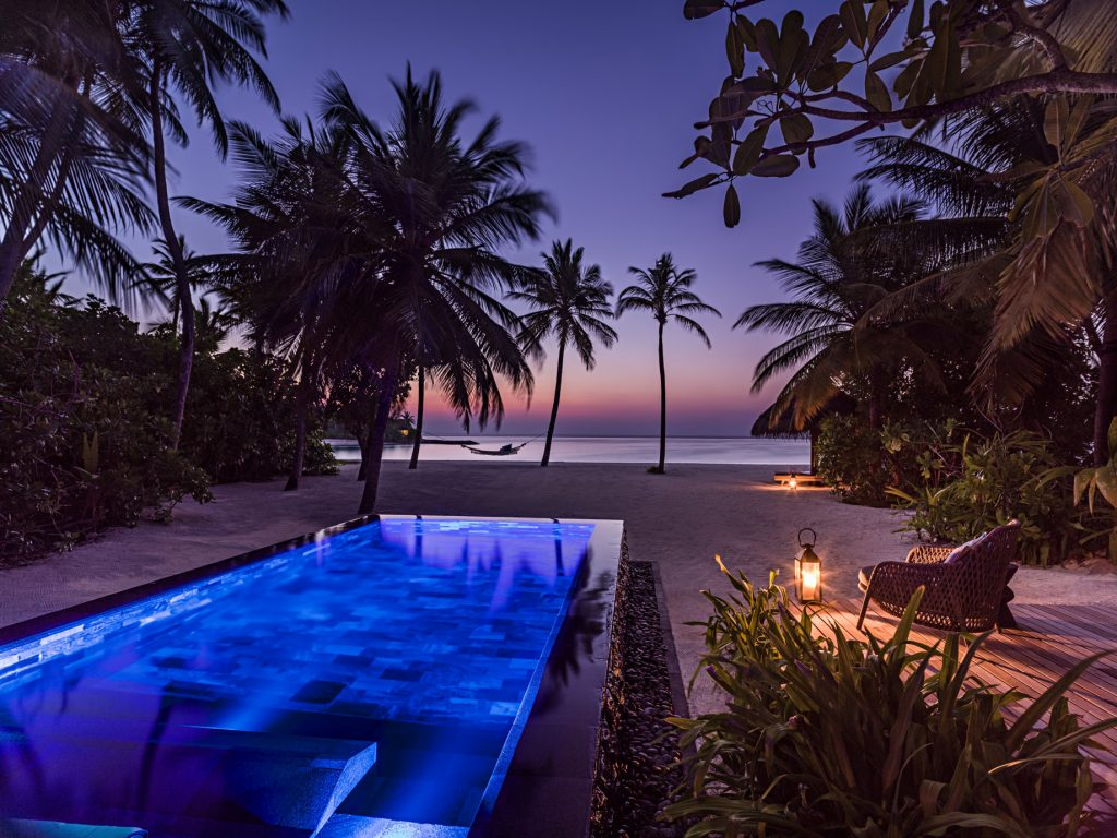 One&Only Reethi Rah Luxury Resort - North Male Atoll, Maldives - Beachfront Pool Sunset