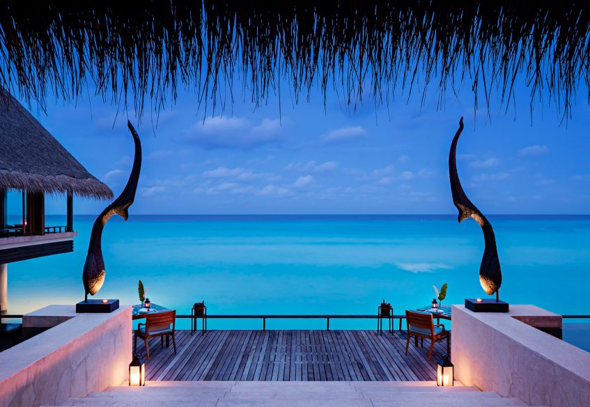 One&Only Reethi Rah Luxury Resort - North Male Atoll, Maldives - Aqua Restaurant Overwater Terrace Sunset