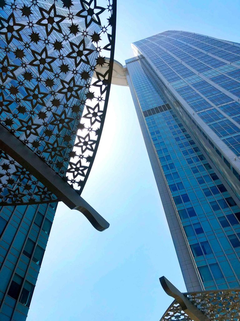 The St. Regis Abu Dhabi Luxury Hotel - Abu Dhabi, United Arab Emirates - Twin Tower View Looking Up