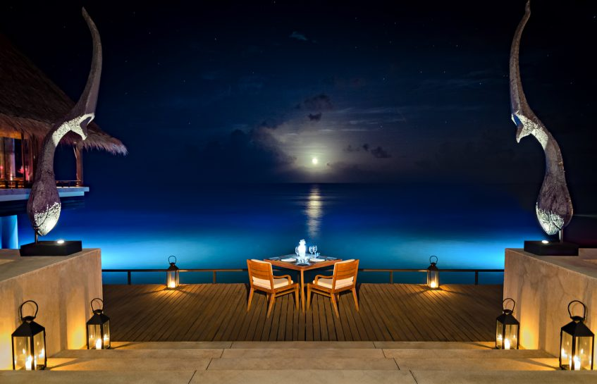 One&Only Reethi Rah Luxury Resort - North Male Atoll, Maldives - Aqua Restaurant Overwater Terrace Oceanview Night