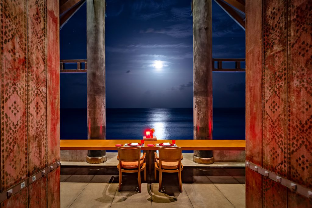 One&Only Reethi Rah Luxury Resort - North Male Atoll, Maldives - Aqua Overwater Restaurant Oceanview Night