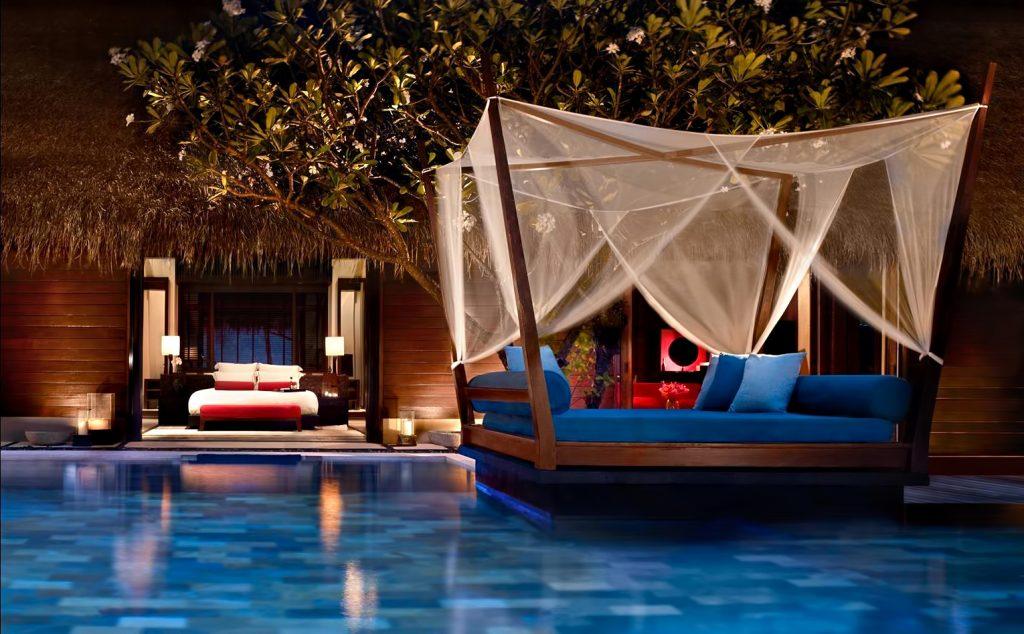One&Only Reethi Rah Luxury Resort - North Male Atoll, Maldives - Luxury Villa Bedroom Pool Night