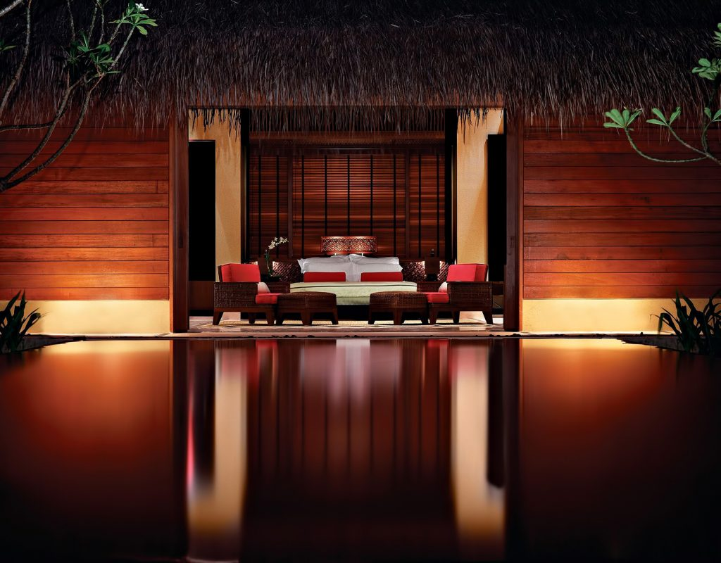 One&Only Reethi Rah Luxury Resort - North Male Atoll, Maldives - Luxury Villa Bedroom Pool Night View