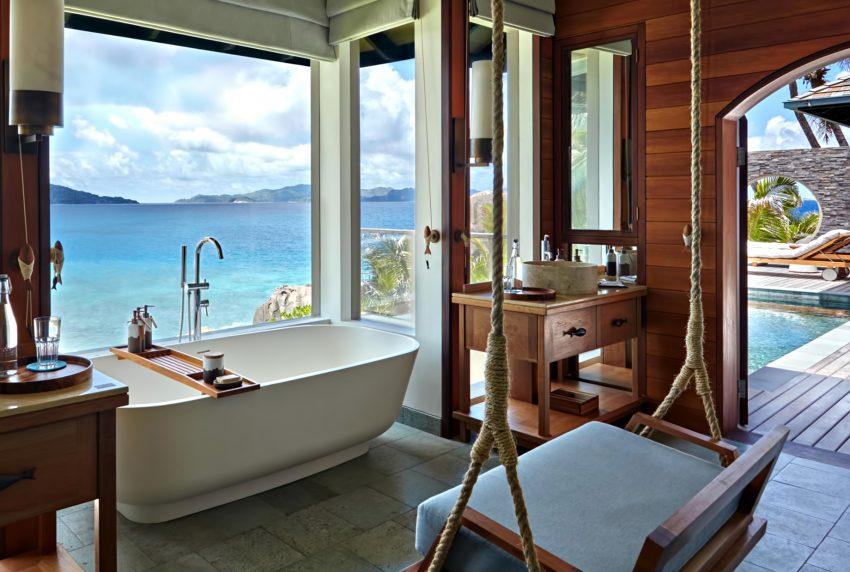Six Senses Zil Pasyon Luxury Resort - Felicite Island, Seychelles - Oceanfront Pool Villa Bathroom