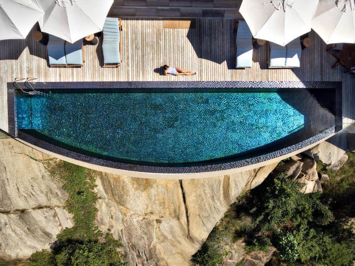 Six Senses Zil Pasyon Luxury Resort - Felicite Island, Seychelles - Four Bedroom Residence Overhead Infinity Pool Aerial