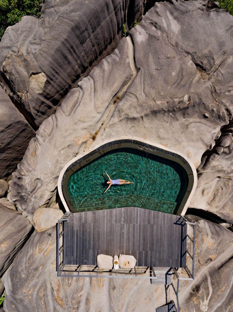Six Senses Zil Pasyon Luxury Resort - Felicite Island, Seychelles - Spa Pool Overhead Aerial
