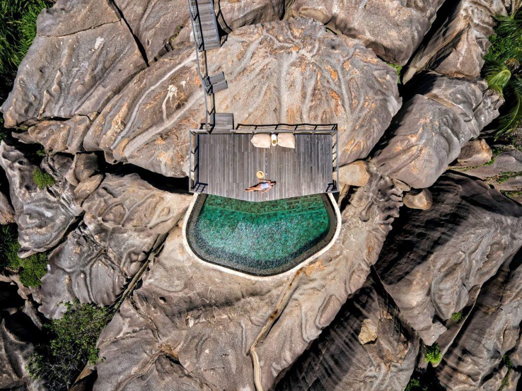 Six Senses Zil Pasyon Luxury Resort - Felicite Island, Seychelles - Spa Pool Overhead Aerial View