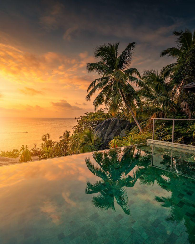 Six Senses Zil Pasyon Luxury Resort - Felicite Island, Seychelles - Tropical Island Villa Infinity Pool Sunset
