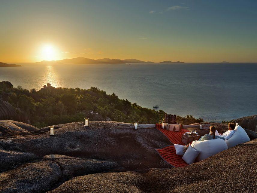 Six Senses Zil Pasyon Luxury Resort - Felicite Island, Seychelles - Cocktails on Hilltop Sunset