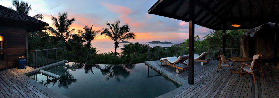 Six Senses Zil Pasyon Luxury Resort - Felicite Island, Seychelles - Tropical Island Villa Pool Deck Sunset Panorama