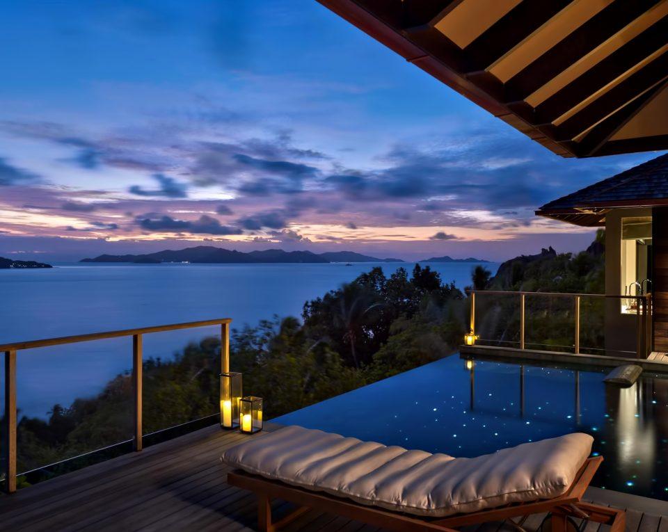 Six Senses Zil Pasyon Luxury Resort - Felicite Island, Seychelles - Villa Pool Deck Twilight
