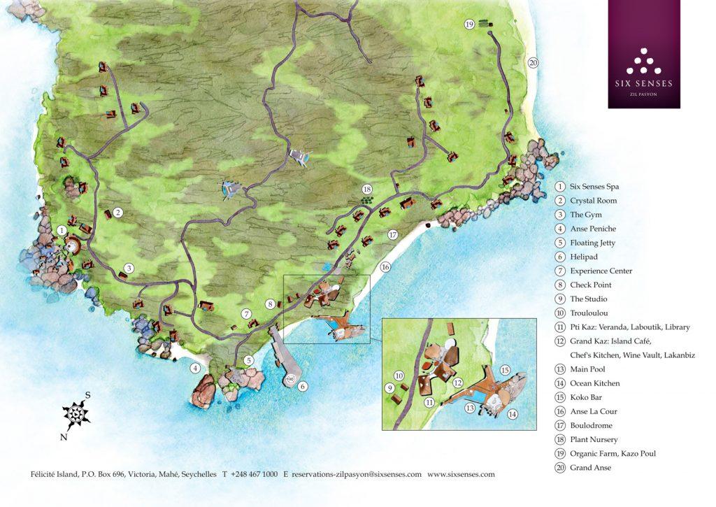 Map - Six Senses Zil Pasyon Luxury Resort - Felicite Island, Seychelles
