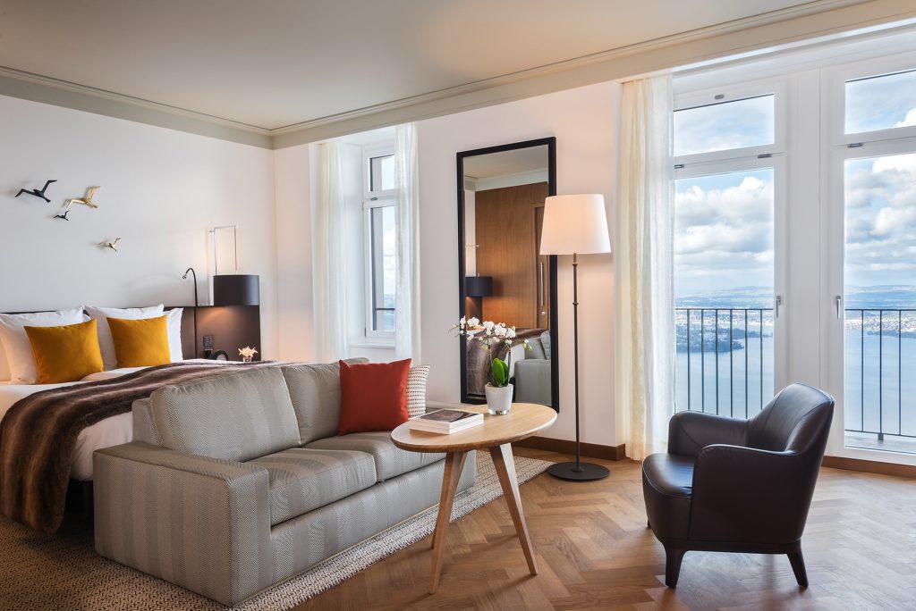 Palace Hotel - Burgenstock Hotels & Resort - Obburgen, Switzerland - Executive Room Lake View Bedroom Terrace