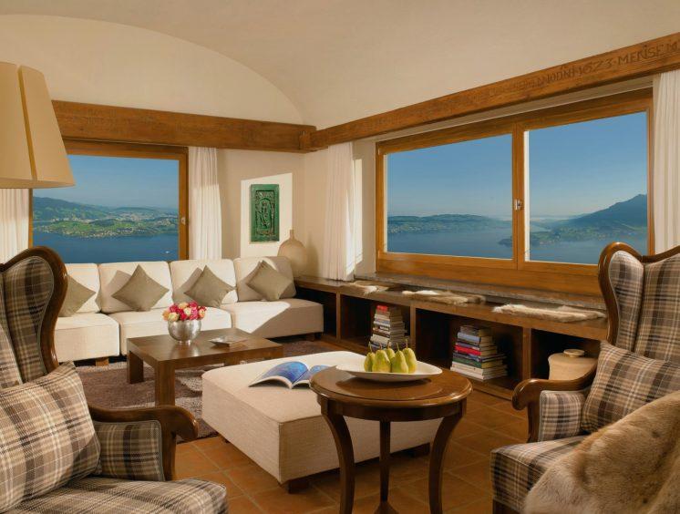 Palace Hotel - Burgenstock Hotels & Resort - Obburgen, Switzerland - Blockhaus Residence Living Room
