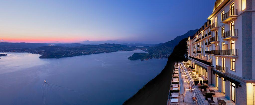 Palace Hotel - Burgenstock Hotels & Resort - Obburgen, Switzerland - Palace Hotel Lucerne Lakeview at Night