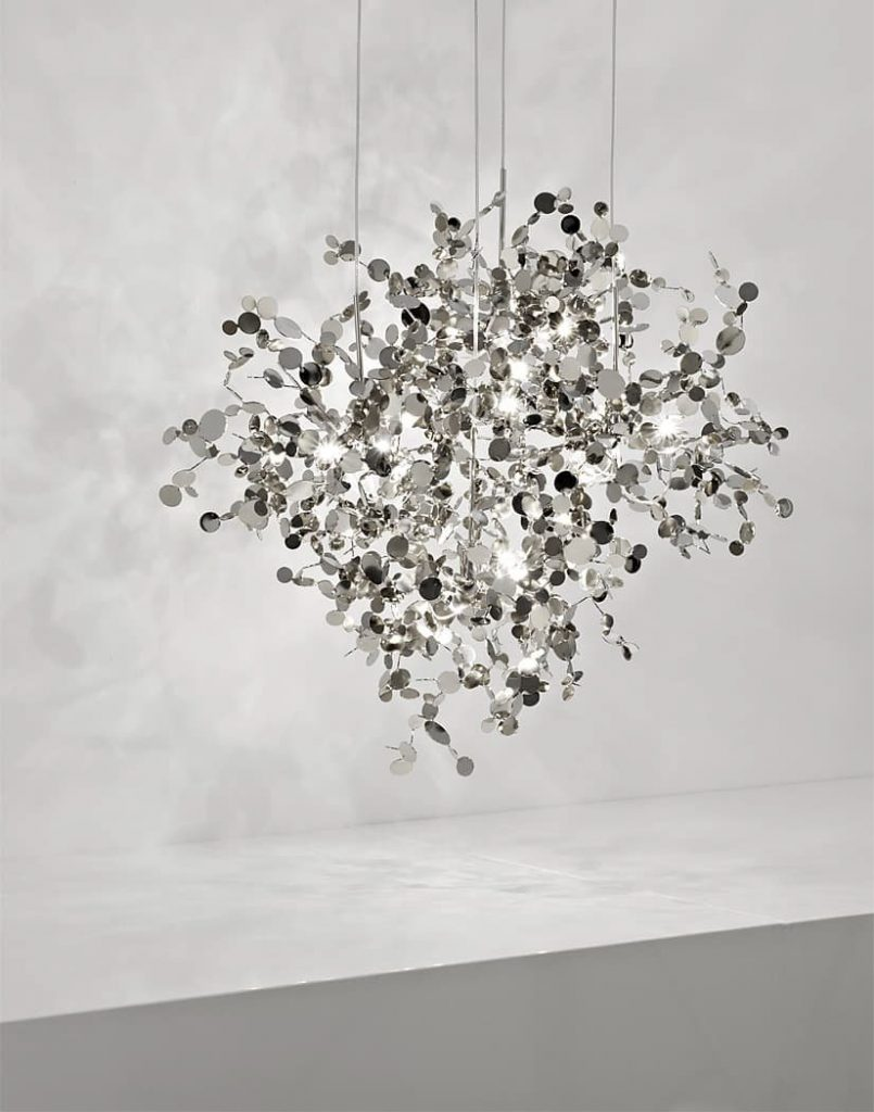 Argent, a Precious Cloud of Light Terzani Lighting Italy - Dodo Arslan - 4 Element Round Suspension