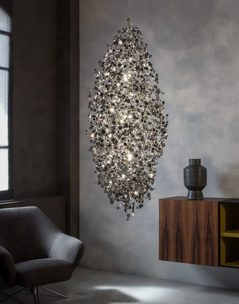 Argent, a Precious Cloud of Light Terzani Lighting Italy - Dodo Arslan - Large Suspension Cluster Gold