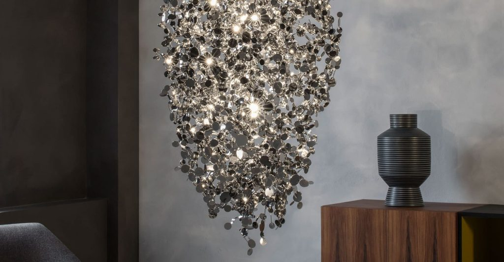Argent, a Precious Cloud of Light Terzani Lighting Italy - Dodo Arslan - Large Suspension Gold