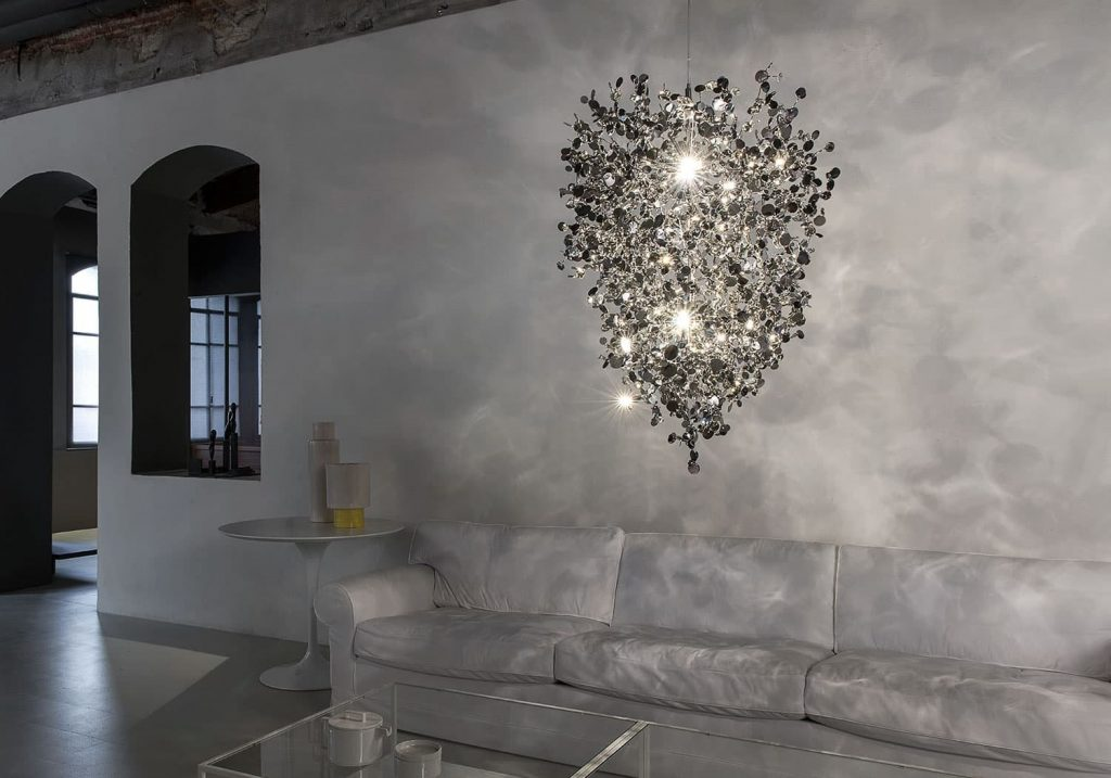 Argent, a Precious Cloud of Light Terzani Lighting Italy - Dodo Arslan - Medium Suspension Cluster Silver
