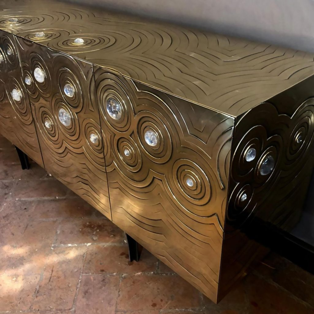 Rosanna & Paolo Brass Crystal Cabochon Sideboard - Erwan Boulloud
