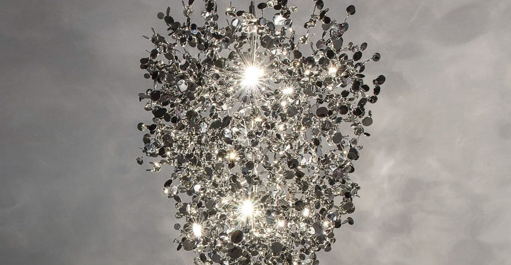 Argent, a Precious Cloud of Light Terzani Lighting Italy - Dodo Arslan - Medium Suspension Silver