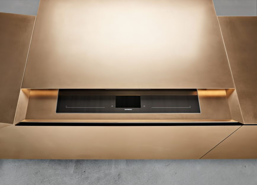 FOLD Iconic Origami Kitchen Block Design - Martin Steininger - Actuation of the motion sensor reveals the hob