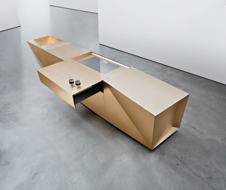FOLD Iconic Origami Kitchen Block Design - Martin Steininger - The open hob cover turns into the counter