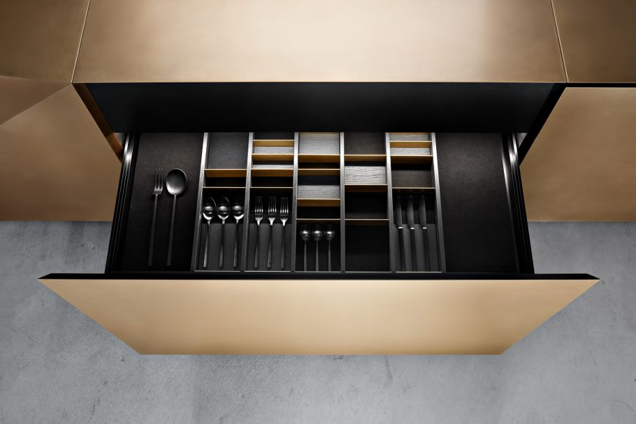 FOLD Iconic Origami Kitchen Block Design - Martin Steininger - Seperation system with flexible magnetic elements