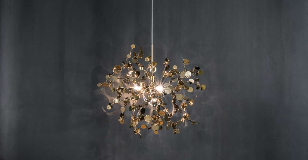 Argent, a Precious Cloud of Light Terzani Lighting Italy - Dodo Arslan - Single Element Suspension Gold