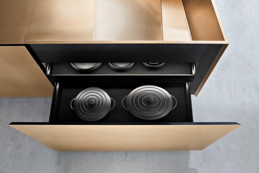 FOLD Iconic Origami Kitchen Block Design - Martin Steininger - All drawers slides with indirect lighting