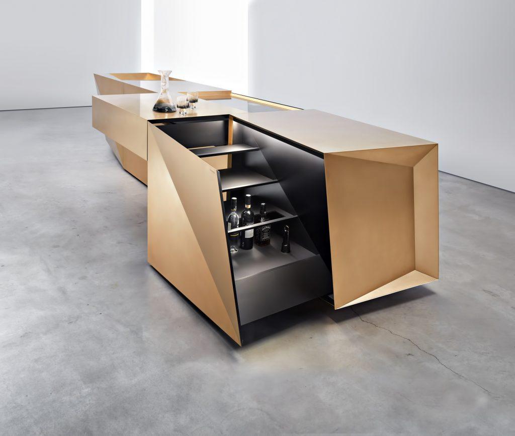 FOLD Iconic Origami Kitchen Block Design - Martin Steininger - Hob and bar open