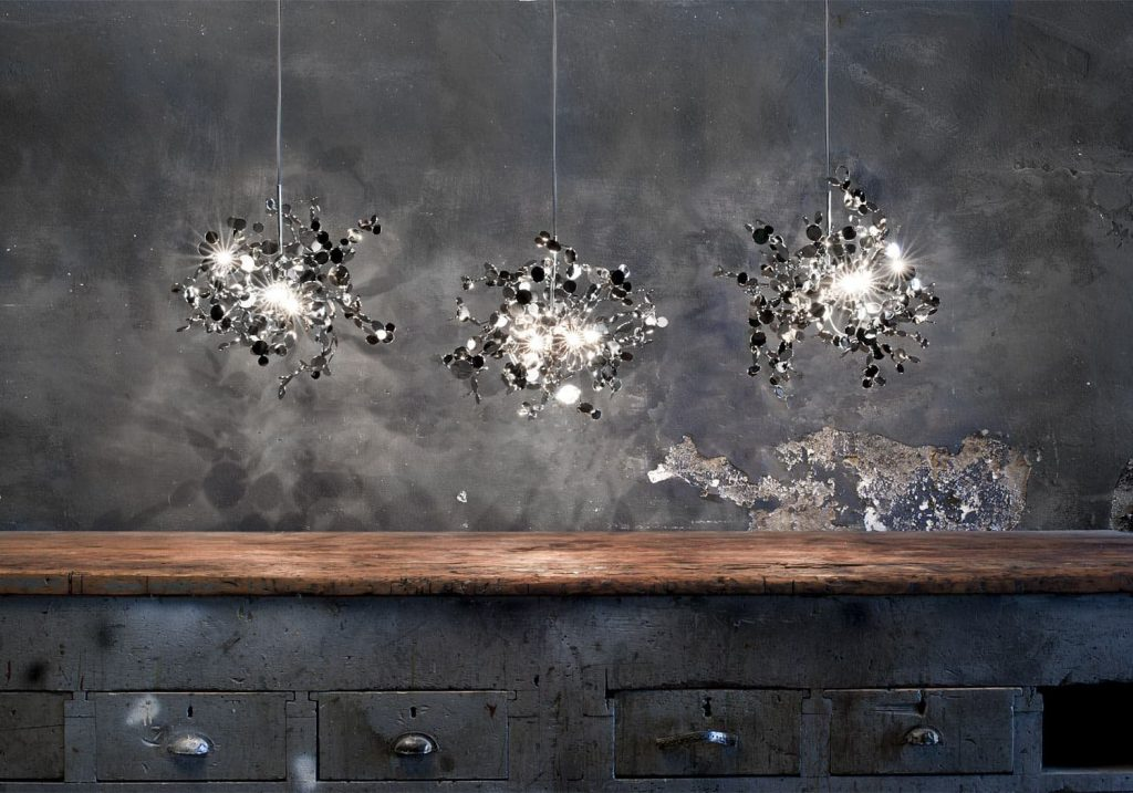Argent, a Precious Cloud of Light Terzani Lighting Italy - Dodo Arslan - Three Single Element Suspensions