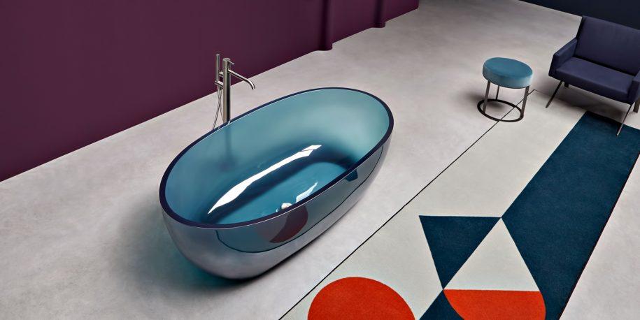 REFLEX Cristalmood Transparent Bathtub AL Studio - Antonio Lupi - Petrolio