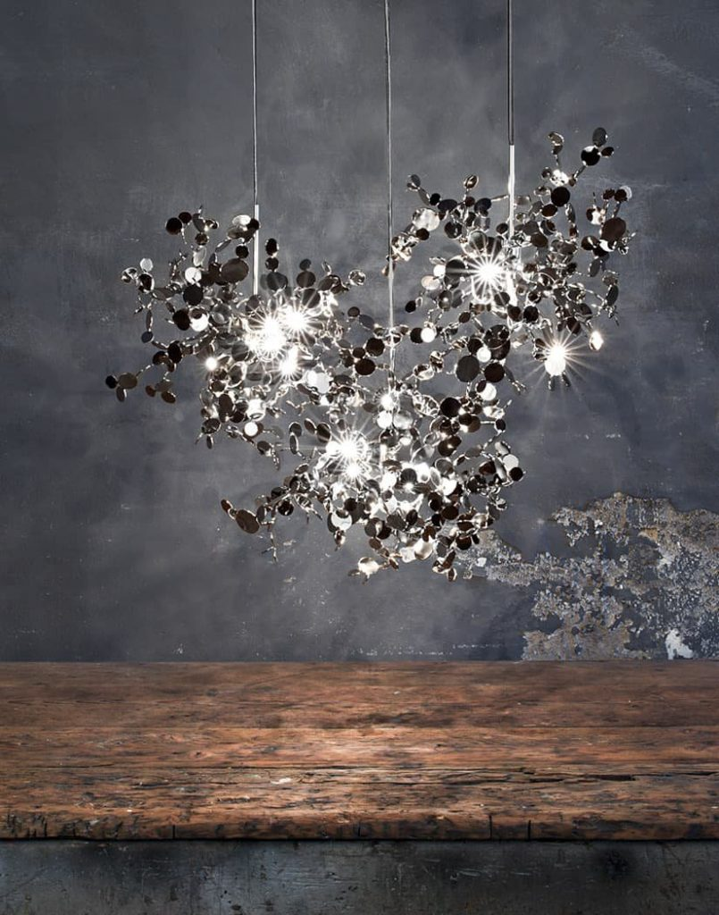 Argent, a Precious Cloud of Light Terzani Lighting Italy - Dodo Arslan - 3 Single Element Suspensions Silver