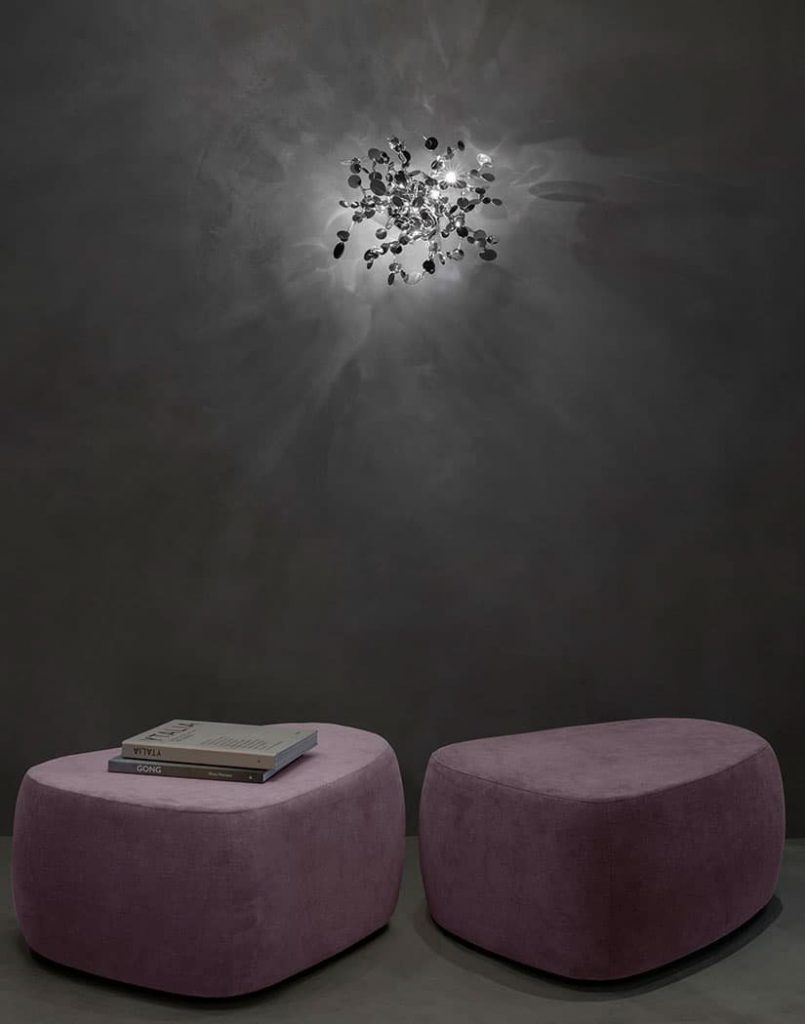 Argent, a Precious Cloud of Light Terzani Lighting Italy - Dodo Arslan - Shimmering Cloud Light Silver Wall Mount